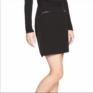 WHBM Black Ponte Mini Skirt with Leather trim